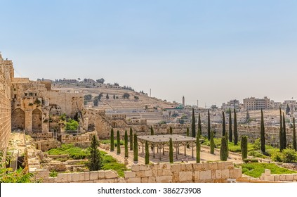 Panoramic view of the Solomon's temple remains in Jerusalem.