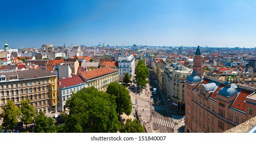 panoramic view of some districts of Vienna from the House of the Sea