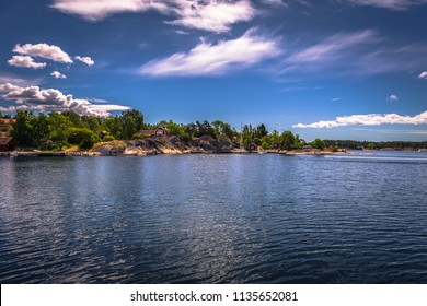 Panoramic view of some islands of the Swedish Archipelago during Midsummer, Sweden