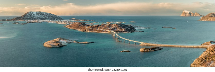 Panoramic view of Sommaroya with bridge and archipelago near town Tromso, Norway