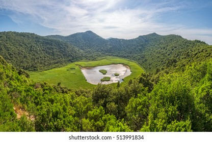 Panoramic view of the source of fresh water in the field on Island Mljet, near Dubrovnik Croatia.