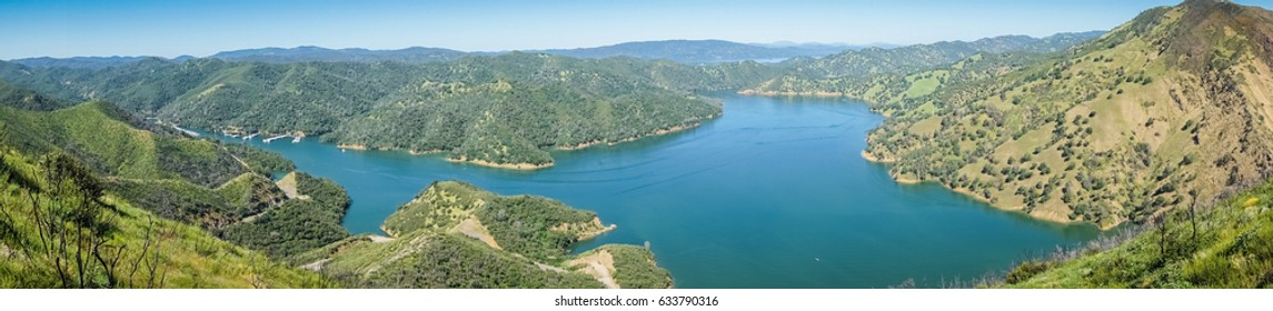 Panoramic view of south Berryessa lake from Stebbins Cold Canyon, Napa Valley, California