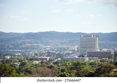A panoramic view from the south side of San Salvador city in El Salvador
