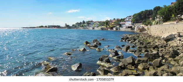 Panoramic view of the southeast coast of the ancient city of Nessebar