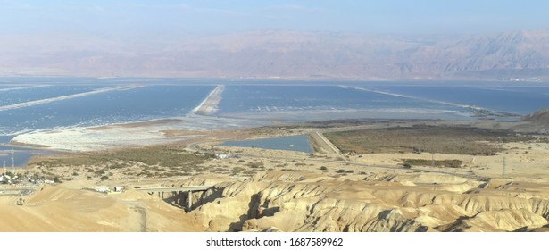 Panoramic view of the southern part of the Dead Sea