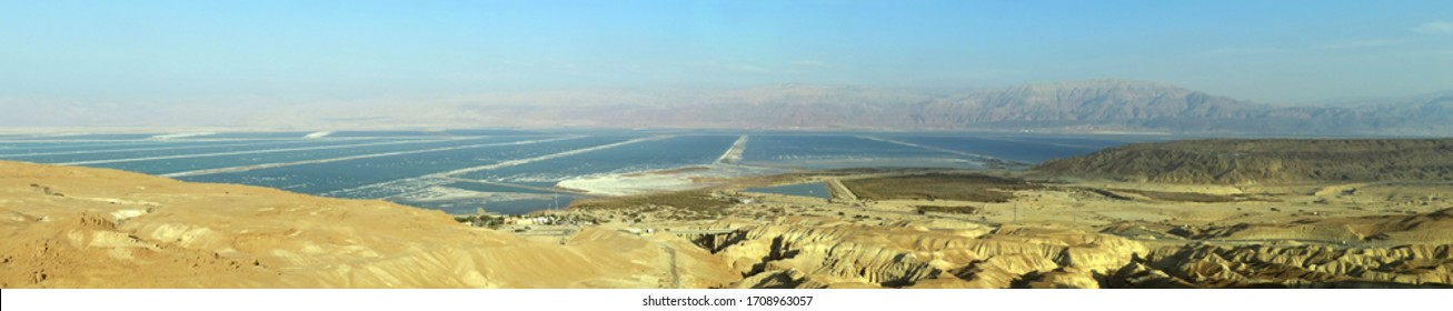 Panoramic view of the southern part of the Dead Sea from the observation platform