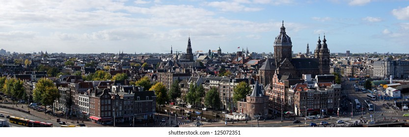Panoramic view of the south-west of Amsterdam from Doubletree Hotel at the Oosterdoksstraat, on the foreground the the Nikolaaskerk