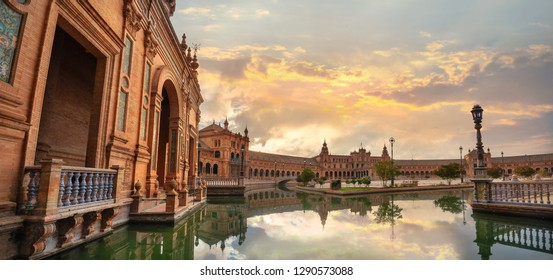 Panoramic view of Spanish Square (Plaza de Espana). Seville, Andalusia, Spain