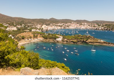 Panoramic view of the Spanish town of Cadaques,the famous small village of Costa Brava, Catalonia - Spain