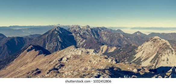 Panoramic view of spectacular mountain ridge.
