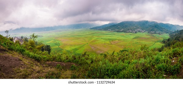 Panoramic view of the Spider Web Rice Terrace Farm in Flores Indonesia