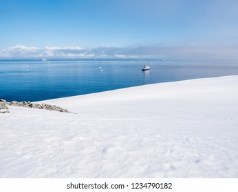 Panoramic view from Spigot Peak to Gerlache Strait with small cruise ship, Graham Land, Antarctic Peninsula, Antarctica