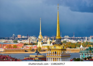 Panoramic view with Spire of Admiralty Building in Saint Petersburg, Russia