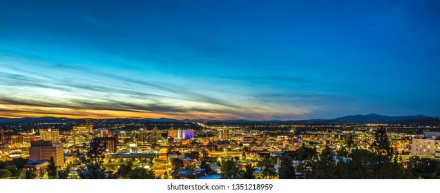 Panoramic View Spokane Washington Downtown City Skyline