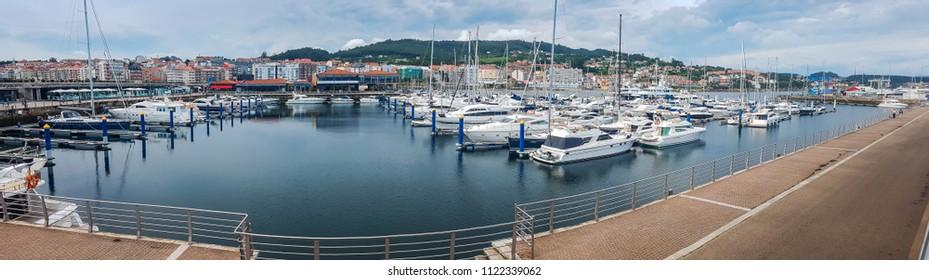 Panoramic view of sport boats moored on marina Sanxenxo