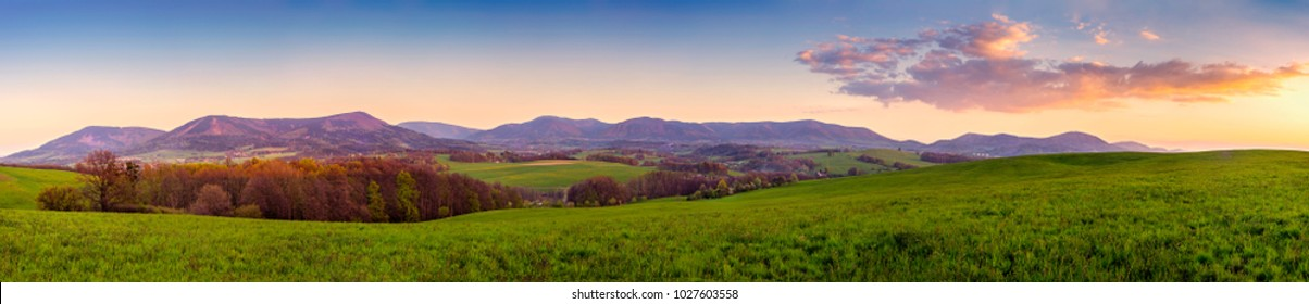 Panoramic view of the spring landscape Czech Republic