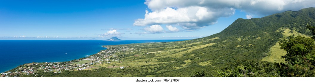 Panoramic view of St Kitts with St Eustatius and Saba in the background.