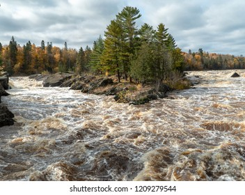 Panoramic view of the St. Louis River rapids from the swinging bridge at Jay Cooke State Park in Northern Minnesota