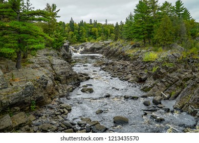 Panoramic view of the St. Louis River at Jay Cooke State Park in Minnesota