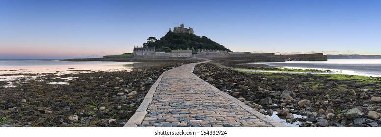Panoramic view of St Michael's Mount a small isle off Marazion near Penzance in Cornwall