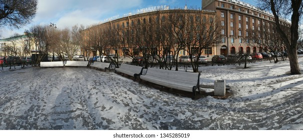 Panoramic view of St Petersburg park near St Isaacs Cathedral