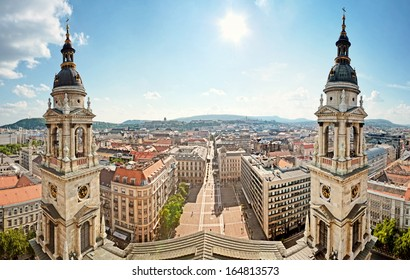 Panoramic view from the St. Stephen's Basilica, Budapest, Hungary