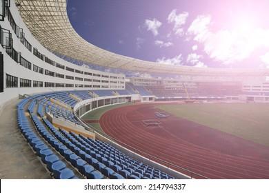 panoramic  view of stadium,empty with people