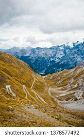 Panoramic view of the Stelvio road (Stelvio Pass, northern Italy, Ortler Alps, between Lombardy and Trentino), curvy road through mountains. Color image