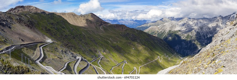 Panoramic view of the Stelvio road (Stelvio Pass, over the alps between Lombardy and Trentino), towards the Trentino side. Color image