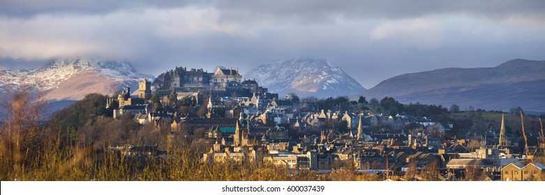 Panoramic view of the Stirling Castle and the old town with the Highlands at the background.