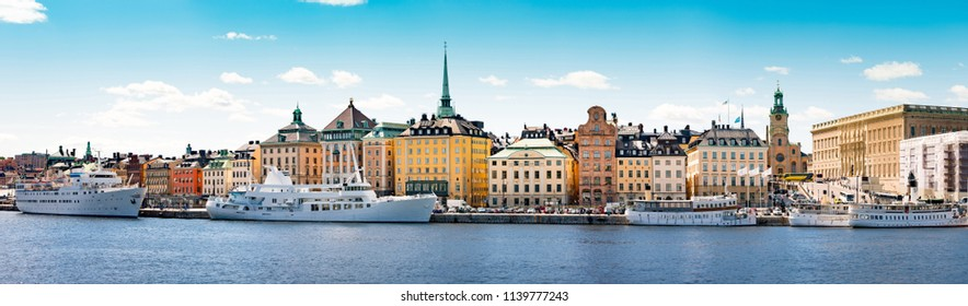 Panoramic view of Stockholm city. Port in foreground and old town in background. Sweden, Scandinavia, Europe