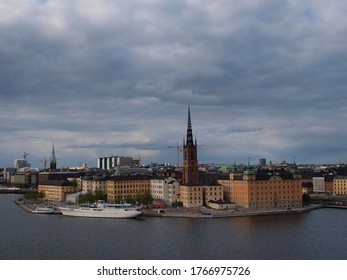 Panoramic view of Stockholm with the sea
