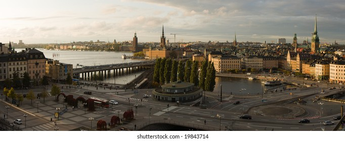 Panoramic view of stockholm at sunset