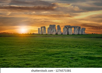 Panoramic view of Stonehenge monument. Colorful sunset in United Kingdom.