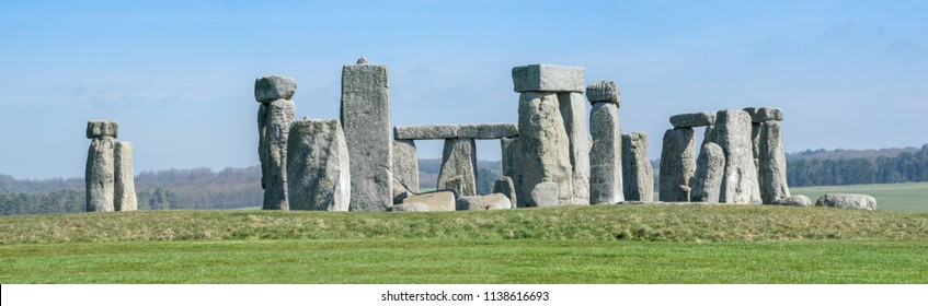Panoramic view of Stonehenge on clear sunny day