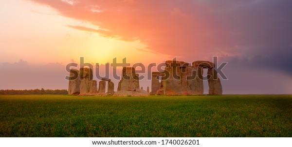 Panoramic view of Stonehenge at sunset - United Kingdom