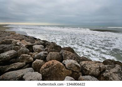 Panoramic view of a stormy sea in Versilia coastline on wintertime