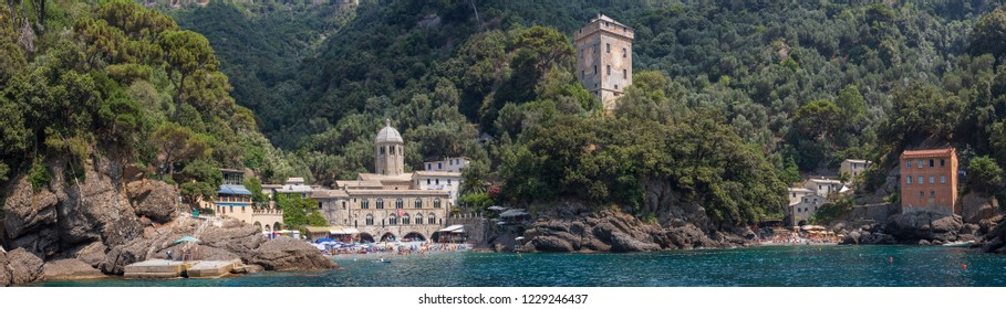 Panoramic view of the stunning little town of San Fruttuoso near Camogli on the Ligurian coast, which can only be reached by ferry or by foot