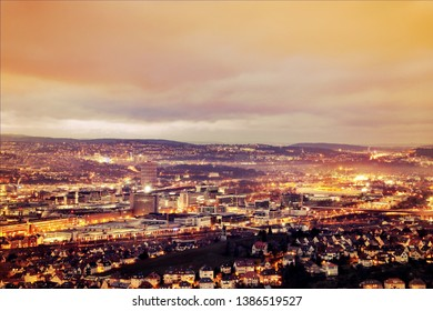 A panoramic view of Stuttgart at night