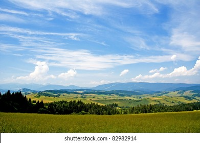 Panoramic view of a summer hilly countryside in Slovakia, Europe.