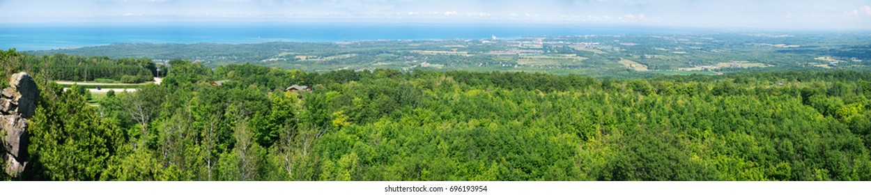 Panoramic view in summer landscape above Blue Mountain Ski Resort in Collingwood, Ontario