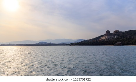 Panoramic view of the Summer Palace, Beijing, China on a spring evening in 2018.