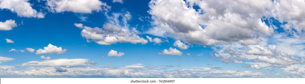 Panoramic view of a summer sky with cumulus clouds