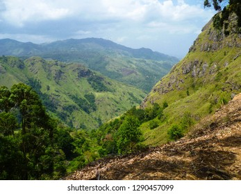 panoramic view from summit of Ella rock, popular hike to the top of hill near Ella town in Central Higlands of Sri Lanka, former Ceylon, South Asia