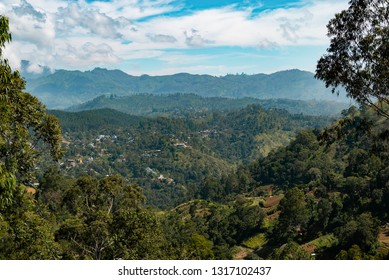 panoramic view from summit of Ella rock, popular hike to the top of hill near Ella town in Central Higlands of Sri Lanka, former Ceylon, South Asia.