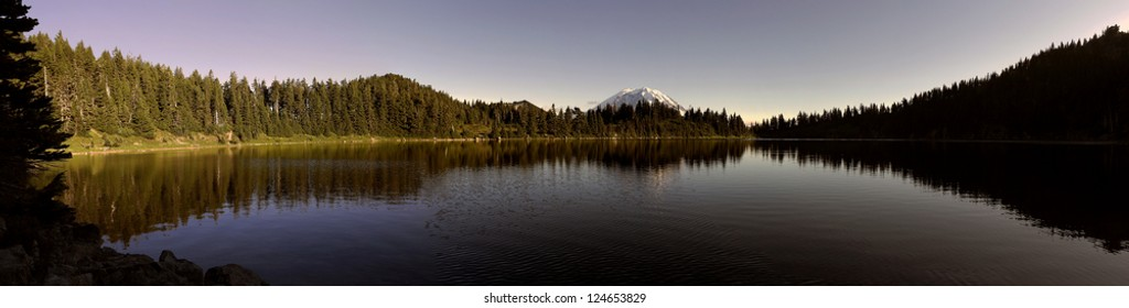 A panoramic view of Summit Lake located in Washington state, USA