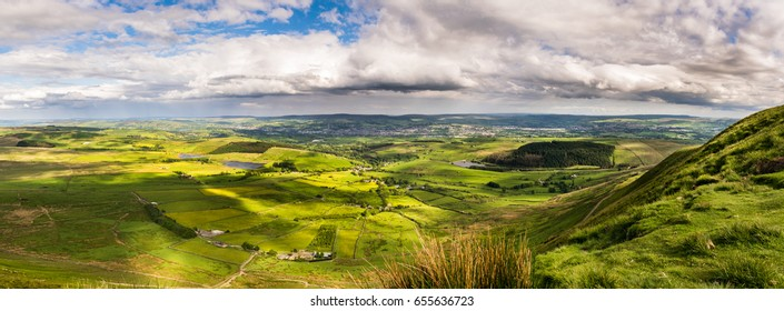 Panoramic view from the summit of Pendle Hill, Springtime In Forest Of Bowland, Lancashire, England UK