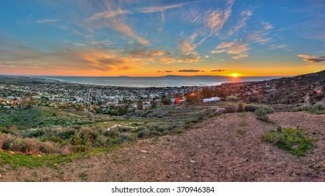 Panoramic view of sun setting off Ventura's gold coast