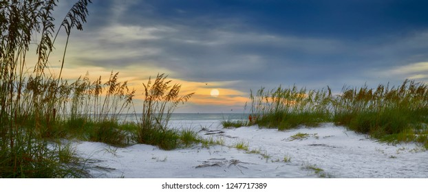 Panoramic view of sun setting over Holmes Beach, Anna Maria Island,Manatee County,America