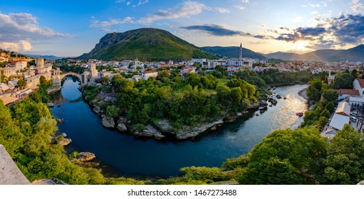 Panoramic view of the sun setting over Mostar, Bosnia and Herzegovina. Taken from the minaret in the Koski Mehmed Pasha Mosque.